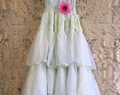 Reserved for Emma palest mint seafoam polka dot nylon chiffon tiered boho bride wedding dress by mermaid miss Kristin