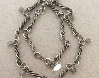 Vintage Sterling Silver European Watch Chain Necklace, Labradorite Gemstone Accents