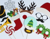 Holiday Christmas Photo Booth Props, Xmax Party Photobooth Props, Snow Globe, Stocking, Trumpet