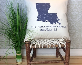 Louisiana Pillow, State Pillow, Personalized  State Pillow, Family Name Pillow, Custom State Pillow, Louisiana Gift, Housewarming Gift