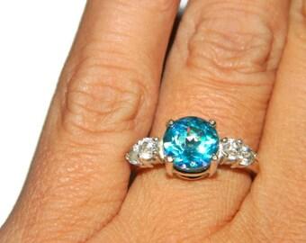 Sea Jewel Topaz Ring, Anniversary Ring, 2 Carat Ring, Wedding Ring, 5 Stone Ring