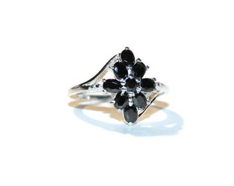 Black Diamond Cocktail Ring, Low profile Middle Finger Ring, Black Diamond Cluster Ring
