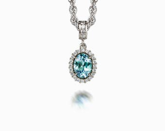 Oval cut Aquamarine and diamond halo necklace, white gold, diamond pendant, vintage, aquamarine necklace, anniversary, something blue, blue