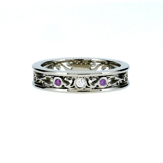 amethyst ring white gold filigree wedding band