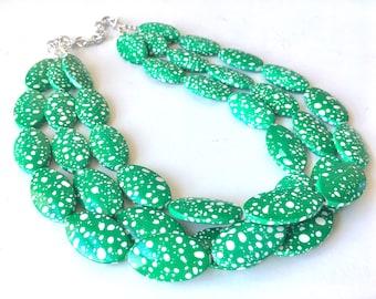 Green Polka Dot Necklace, big beaded chunky statement necklace, green necklace, green and white, green jewelry, Polka Dot Jewelry Dress