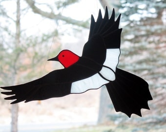 Red Headed Woodpecker Bird Stained Glass, Large Sun Catcher Panel, Glass Art, Stained Glass