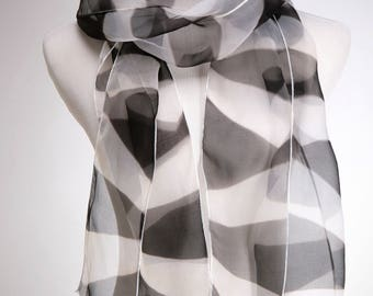 Black White Shibori Silk Narrow Scarf