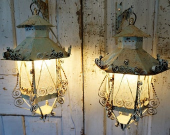 Ornate painted lanterns electric wall hanging lighting w/ original hooks shabby cottage chic blue white distressed rusty anita spero design