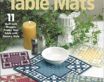 Quilt Block Table Mats Plastic Canvas Pattern - The Needlecraft Shop - Hot Pads, Trivet, Placemat, Kitchen Decor, Hot Mat, Table Decor
