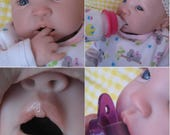 OPEN MOUTH reborn baby girl, Holds a full pacifier, Faux formula bottle, ready to ship!