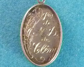 Vintage silver  French Medal  Our Lady of Clery Virgin Mary   circa 1920' Art Nouveau  Pendant Old  Charm Jewelry 0/1/4