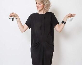 Short Black Dress ,Bridal Dress, summer dress, mini dress, short sleeve, loose fit, crew neck top, knee length, modern dress, oversize