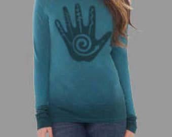 Stencil women's L/S Crew with Hand of Fate graphic