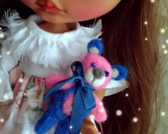 Felted Wool Teddy Bear Pet for Blythe Doll