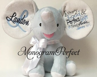Landon - Already Personalized -  Blue Stuffed Elephant