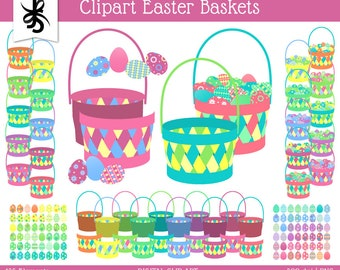 Digital Clipart-Easter Baskets-Easter Clipart Baskets-Easter Egg Baskets-Digital Basket-DIY Baskets-Scrapbooking-Instant Download Clip Art