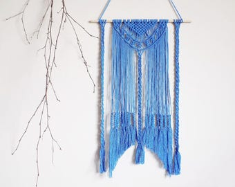 Macrame tapestry, wall hanging, wall decor, blue, boho, bohemian, makrame, boho home, wall tapestry, modern macrame, room decor, macrame
