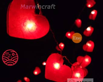 Battery or Plug 20,35 Red Hearts Paper Handmade Fairy String Lights Hanging Party Patio Wedding Garland Home Living Bedroom Holiday Decor
