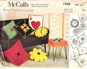 Vintage 1955 McCall's 1968 Eight Novelty Pillow Slip Covers With Transfers Sewing Pattern  UNCUT