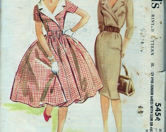 Vintage 1960 McCall's 5454 Junior Dress Full or Slim Skirt Sewing Pattern Size 13 Bust 33""