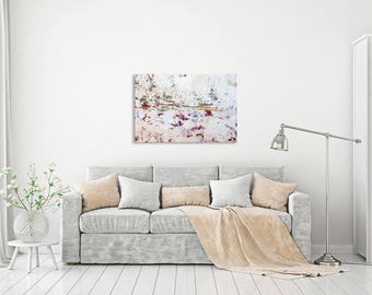 White abstract photography print gallery wrap on canvas - Bright wall art - Home decor