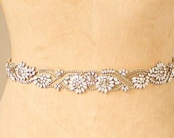Wedding Belt Bridal Sash, Art Deco Vine & Leaf Dainty Rhinestone Gold White Opal Ornate Lace Embroidered Design, Camilla Christine MARTHA