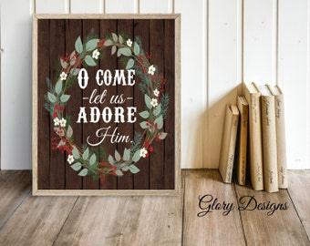 Printable, Bible Verse, O Come let us adore Him, Hymn, Merry Christmas, Printable, Christmas quote, Christmas decor, Christmas Printable
