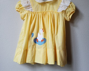 Vintage Girls Yellow Gingham Dress with Duckling and Flutter Sleeves- Size 6 months- Gently worn