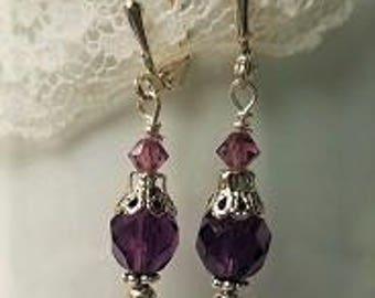 Amethyst Earrings Amethyst Crystal Earrings Vintage Style Earrings Amethyst jewelry purple Earrings Amethyst crystal earrings