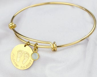 Mother day bracelet, your baby actual footprint bangle bracelet, name bracelet adjustable bracelet baby shower gift new mom bangle handprint