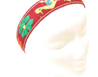 70s Woven Headband Handmade Textile Adjustable Hairband