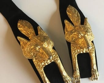 Vintage Judith Leiber Belt - Foxes - Golden Foxes - Foxhead Buckle
