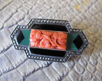 Art Deco Enamel, Carved Asian Coral, Marcasite & Sterling Silver OOAK Brooch Pin. 1920's Fine Art Deco Silver Jewelry.Gemstone Jewelry CORAL