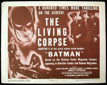 BATMAN movie serial original title lobby card 1954rr