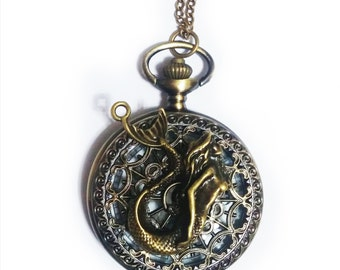 Mermaid Pocket Watch Necklace- Mermaid tail Pocket Watch Pendant