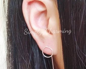 Geometric Circle Vertical Line Wire Lobe Earrings - A pair - Body Jewelry
