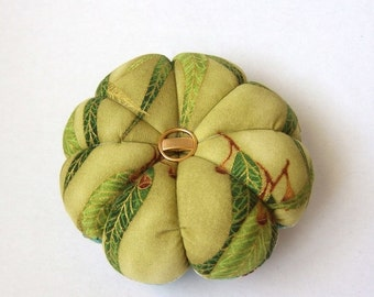 Pincushion Native Gum leaves Fabric . Great for a sewing gift - Round Pin cushion. Australian floral fabric with accents. pins holder