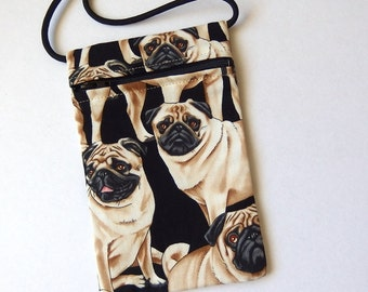 """Pouch Zip Bag PUGS Fabric.  Great for walkers, markets, travel. Cell phone pouch. small fabric purse. pug puppy purse. 6.75"""" x 4.25"""""""