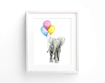Baby Nursery Art Print, Elephant Art, Baby Elephant Balloons, Watercolor Elephant Painting, Nursery Decor, Baby Room, Colorful Print