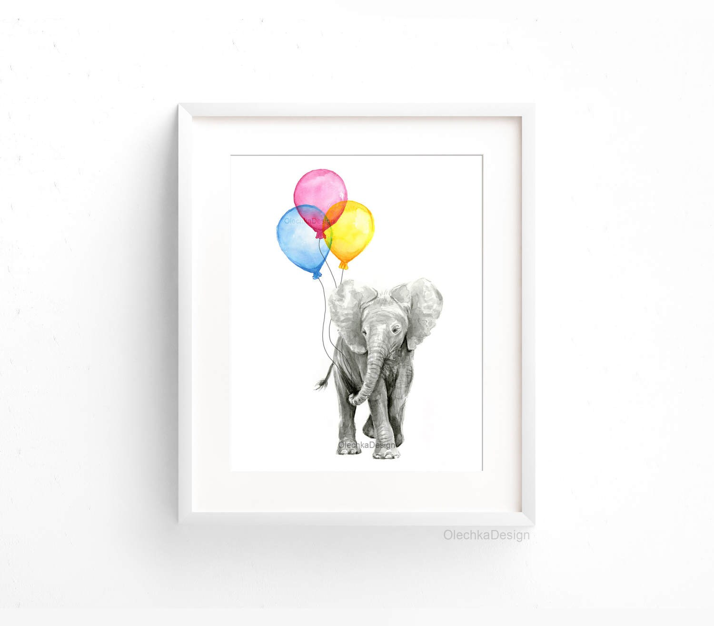 baby nursery art print elephant art baby elephant balloons. Black Bedroom Furniture Sets. Home Design Ideas