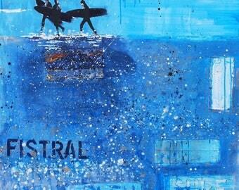"Coastal decor PRINT of Fistral Beach - ""Fistral Beach Scene, Newquay, Cornwall"" - Melanie McDonald - coastal decor art - surf decor print"