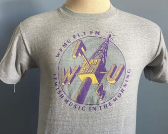 80s Vintage WFMU 91.1 FM Jewish Music in the Morning New Jersey T-Shirt - XS X-Small