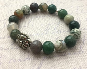 Bohemian Jasper Stretch Bracelet Green Stacking Natural Stone Boho Chic Fashion Beaded Jewelry Silver FREE Shipping Paisley Beading