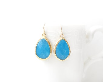 Polished Gold Plated Framed Drop Blue Jade Earrings