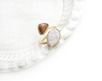 Double Adjustable Brown Jade  and Freshwater Pearl Stone Gold Plated Ring
