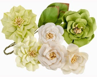 GREEN PAPER FLOWERS, White Paper Flowers, Prima Flowers, Prima Renwick Flowers, White MulberryFlowers, Paper Flowers, Light Green Flowers