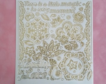 LACE STICKERS, Dazzles Stickers, Dazzles Painted Lace Stickers, Gold Lace Stickers, Gold Flourish Stickers, Gold Metallic Stickers