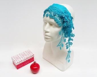 Hippie Headband, Boho Fashion Scarf, Summer Blue Scarf, Lace Spring Scarf, Cotton Head Wrap, Women Boho Hair Wrap, Beach Boho Scarf Tulle