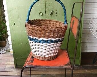 Vintage Cane Basket Market Basket