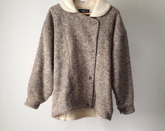 vintage WOOLRICH woman JACKET warm heather cream grey coat size small